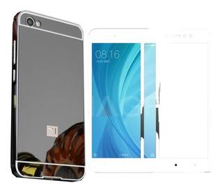 Redmi Note 5a Aluminio Tapa Tipo Espejo Y Cristal Templado