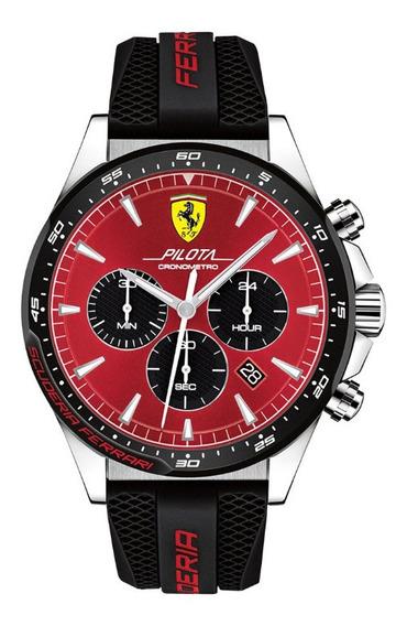 Relógio Ferrari Pilota Borracha Preta