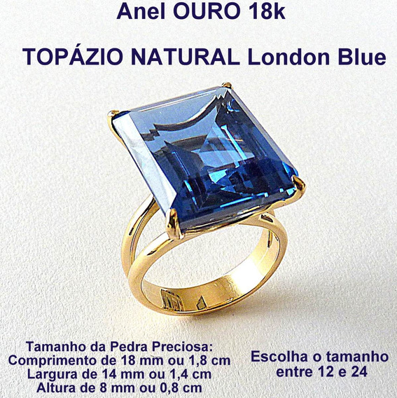 Anel De Ouro 18k Com Topázio Natural London Blue 1901