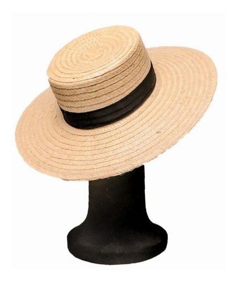 Chapéu Clássico Aba Grande Palha Natural Modelo Palheta Hat