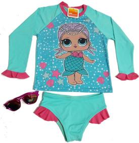 Conjunto Menina Camisa Uv Biquíni Uv Infantil Lol Com Óculos