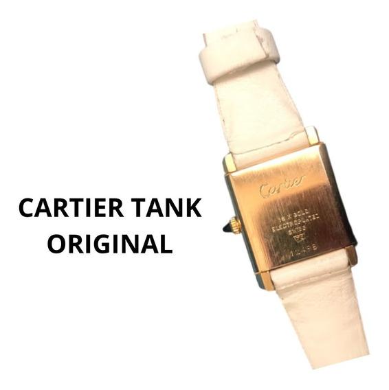 Relógio Cartier Tank Louis Quadrado Plaquê Branco. Lindo