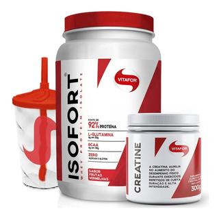 Isofort 900g Whey Isolado + Creatina 300g + Copo - Vitafor