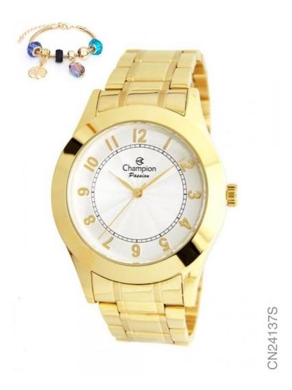 Kit Relógio Feminino Champion Dourado Com Pulseira Cn24137s