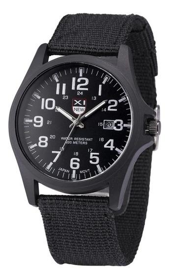 Relógio Militar Com Data Inox Pulseira Costurada Resistente