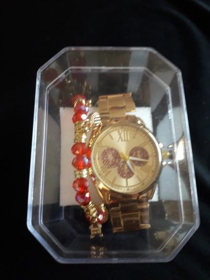 Kit Relógio E Pulseira Vermelha