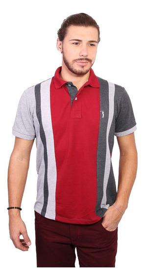 Camisa Polo Golf Club Trios Vinho E Chumbo