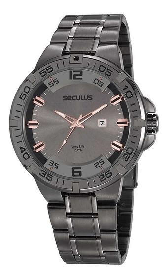 Relógio Grafite Todo Em Aço Seculus 20796gpsvsa1