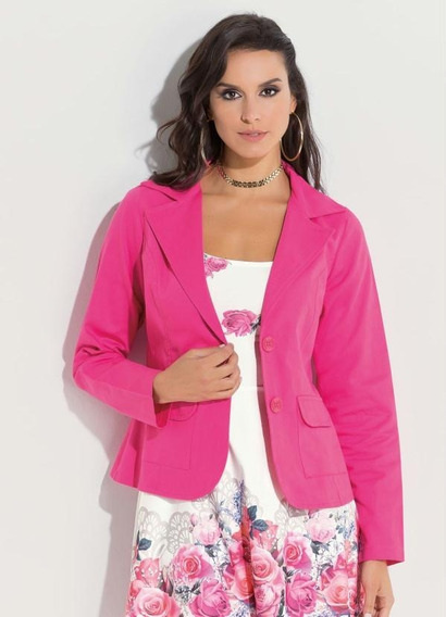 Blazer Clássico Em Sarja Pink