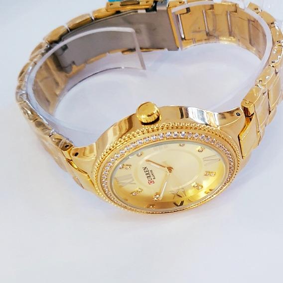 Relógio De Pulso Importado Curren Feminino Pequeno Re. Água