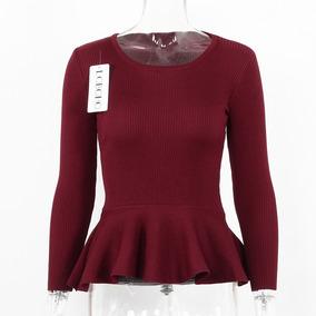 Sweater Peplum Mujer Manga Larga Talla Standar
