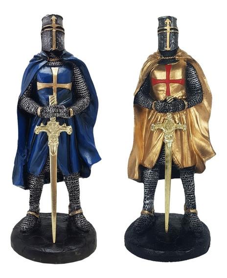 Guerreiro Templário C/ Espada Medieval Kit C/ 2 Pçs Resina