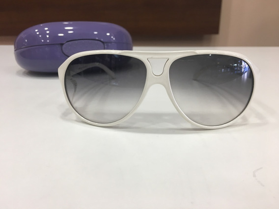 Óculos De Sol Benetton 8037 Redondo Branco Lente Cinza
