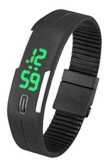 Relógio Pulseira Silicone Digital Bracelete Led Preto