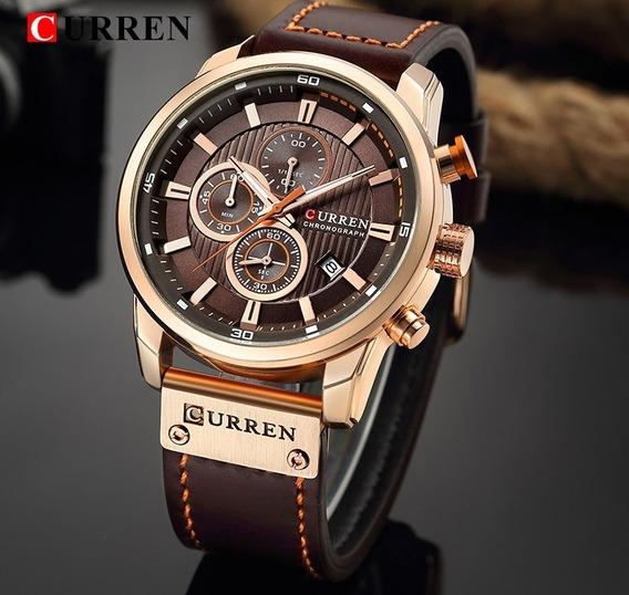 Relógio Masculino Curren Luxo Pulseira De Couro Original