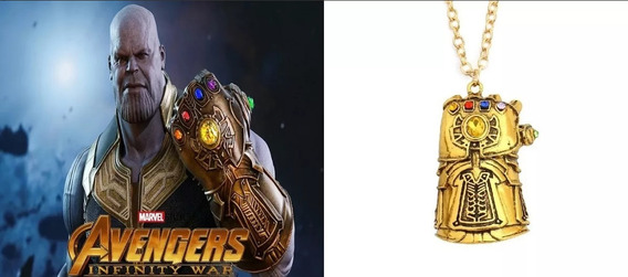 Colar Thanos Os Vingadores Guerra Infinita Folheado Ouro