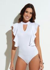 8bc2100c8 Body Collant Bebe C  Babado Brilho E Fita · Body Feminino Collant- Babado  Decote- Reveillon Plus Size