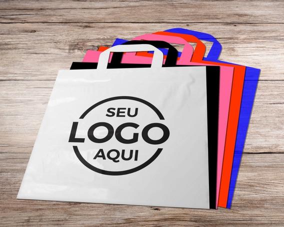 Sacola Plástica Personalizada 40x50 - Alça Fita - 250un