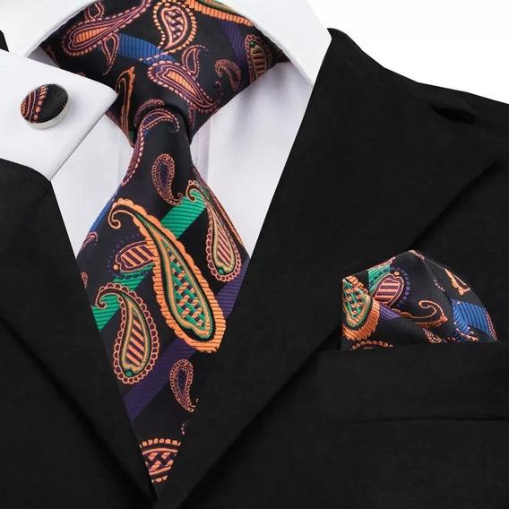 B520 Seda | Corbata Pañuelo Mancuernillas | Morado Naranja