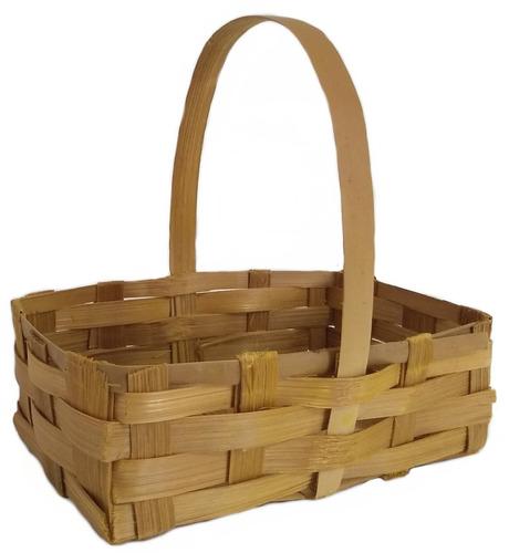 35 Mini Cesta Lembrancinha Bambu Pascoa Ref.1646 24x13x07