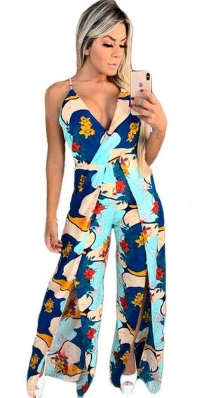 Macacão Feminino Longo Decotado Pantalona Estampado Verão