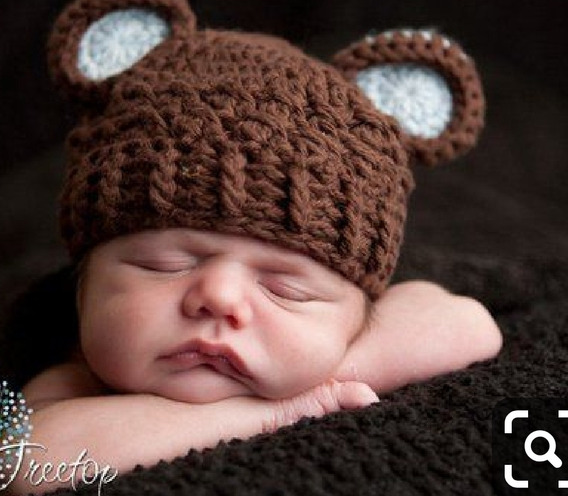 Touca Ursinho Croche Newborn