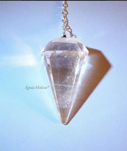 Pêndulo Em Cristal Quartzo Transparente Radiestesia