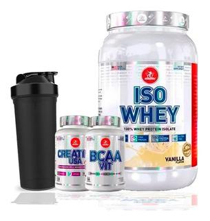 Combo Whey Protein Isolado Isolate Whey + Bcaa + Creatina