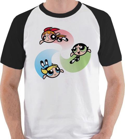 Camiseta Meninas Super Poderosas Cartoon Camisa Blusa Raglan