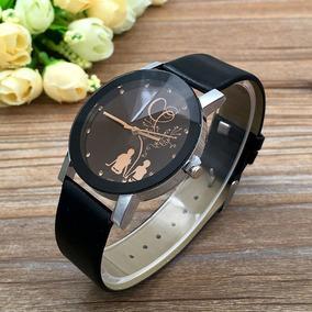 Relógio Feminino Quartzo Pulseira De Couro Preto Barato
