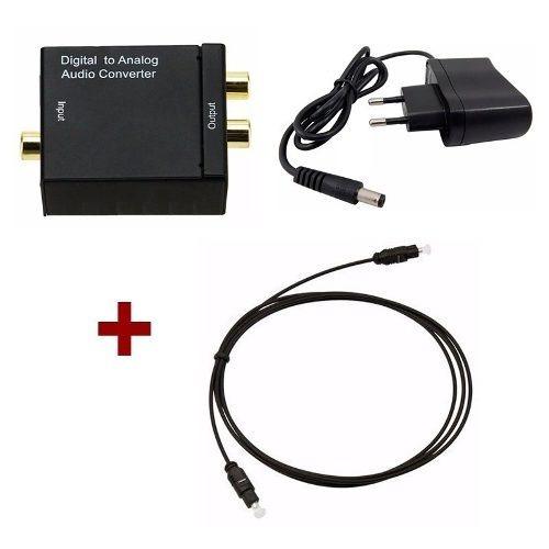 Conversor Áudio Óptico Coaxial + Cabo Optico 5 Metros