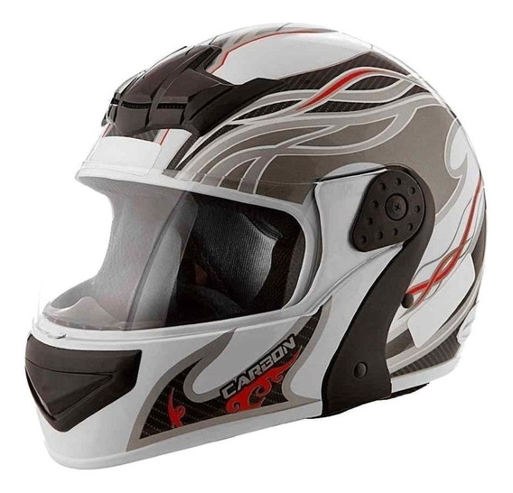 Capacete para moto escamoteável Mixs Gladiator Carbon branco/cinza L