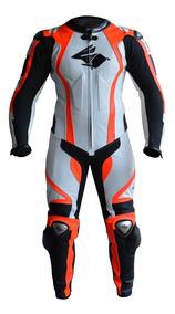 Macacão Couro Moto Com Titanium 1 Peça Racing Rabbit Energy