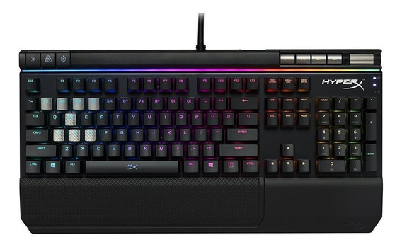 Teclado gamer HyperX Alloy Elite QWERTY Cherry MX RGB Brown inglês US de cor preto com luz RGB