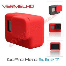Capa Protetora + Tampa Silicone Gopro Hero 5, 6 E 7 Vermelho