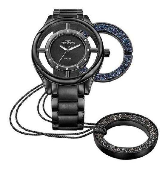 Relógio Technos Feminino Signature Gl30fm/4p Preto Lançament