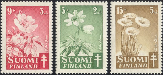 Finlandia 1949 Flores Tuberculosis Serie Completa Mint