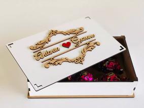 12 Caixa Mdf Branco Convite Casamento Padrinhos Arabesco 8cm