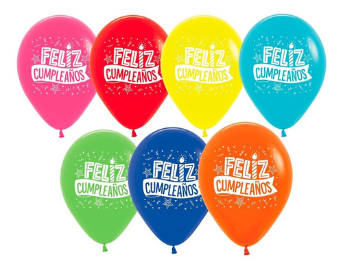 Bombas R12 Feliz Cumpleaños Fiesta Il X 12 Unds Sempertex.