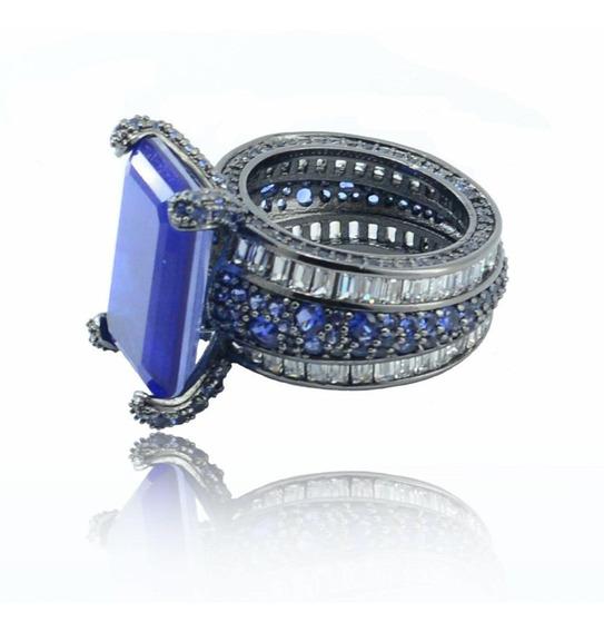 Anel Semijoia Glam Azul Safira Fusion Zircônias Ródio Negro