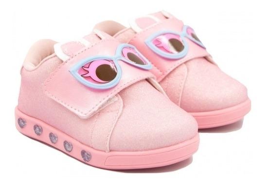 Tênis Infantil Pampili Sneaker Luz Dots Rosa Degradê