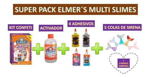 Super Pack Elmers Multi Slime Con Colas De Sirena + Receta