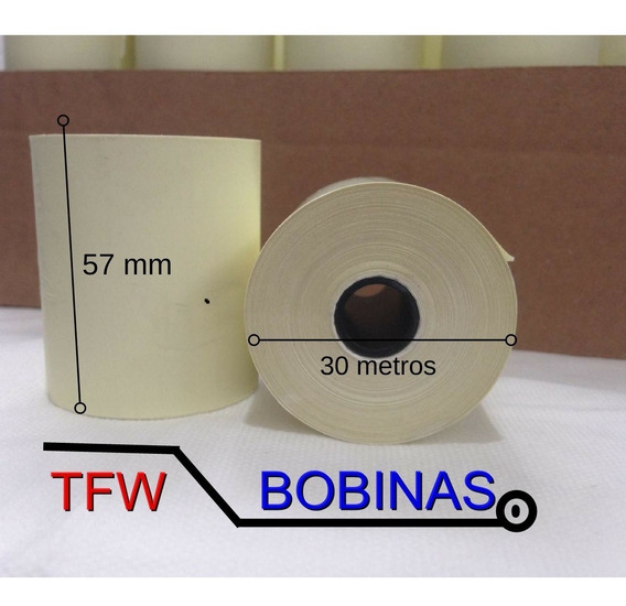 Bobina Térmica Amarela Relógio De Ponto 57mmx30m Caixa C/30