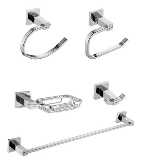 Kit Acessórios Banheiro 5 Peça Metal Cromado Luxo Lançamento