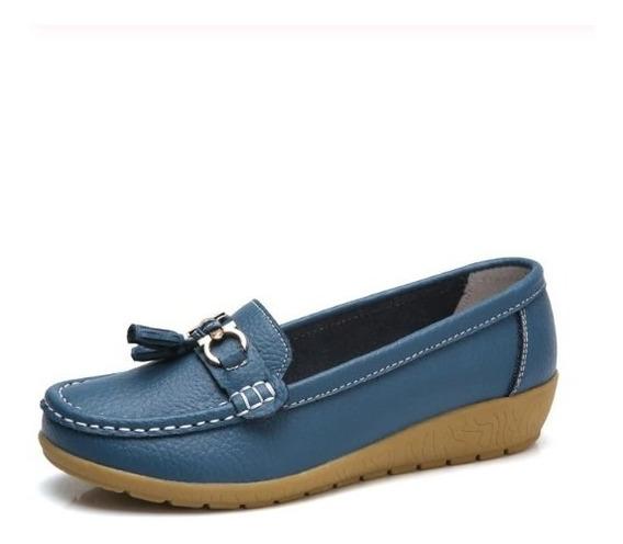 Sapato Feminino Superstar Couro Azul Esc.