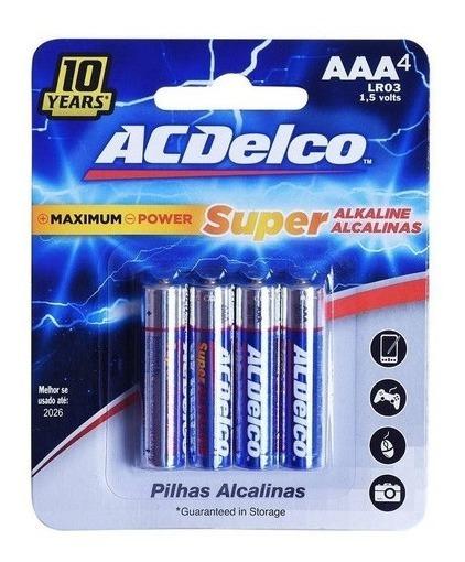 12 Cartelas Pilha Alcalina Palito Aaa C/ 4 Unid Acdelco