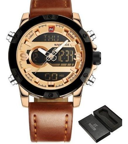 Relógio Naviforce Mod 9097 Preto E Cobre Luxo Social.