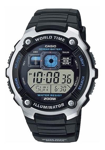 Reloj Casio Ae2000 Alarma Crono Timer Hora Mundial Wr100