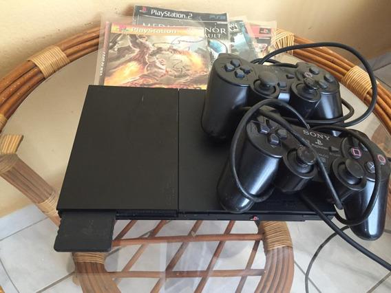 Playstation 2 Com 2 Controles Com Memory Card + 20 Jogos Bri