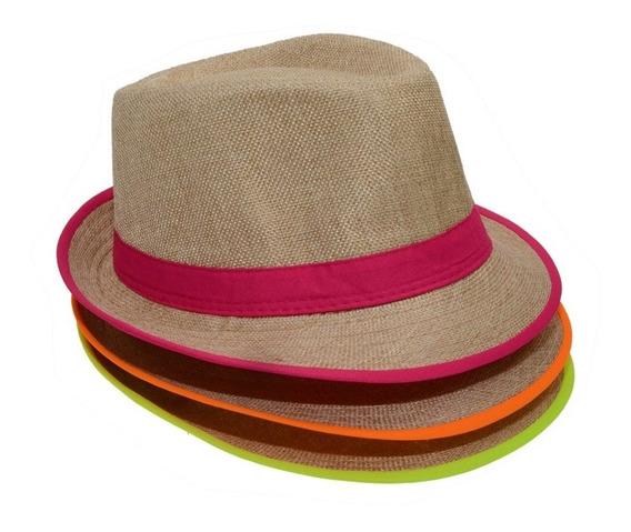 Sombrero Panameño Con Tira Fluo, Cotillon, Fiesta